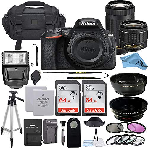 Nikon D5600 DSLR Camera with 18-55mm VR and 70-300mm Lenses + 64GB Card, Tripod, Flash, and More (23pc A-Cell Bundle) (70-300MM + 18-55MM + 64GB)