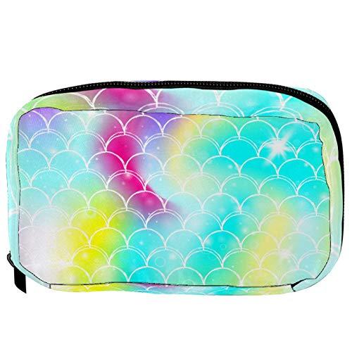 Neceser de Maquillaje Estuche Escolar para Cosméticos Bolsa de Aseo Grande Rainbow Scales Magia Fantasía Kawaii Sirena