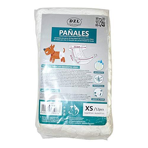 SMELL & SMILE Pañales Desechables para Perro Pañales para Perros Hembra Pañal Sanitarios para Perro Mascotas Bragas Higiénicas Suaves absorbentes (XS)