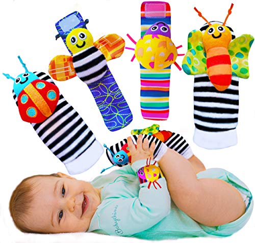BABYCHINO Baby Wrist Rattle amp Foot Finder Socks  Infant Developmental Sensory Toy for Boys and Girls from 0 to 6 Months Old  Cute Garden Bug Edition 4 Piece Set