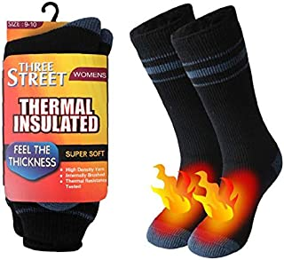 Warm Thermal Socks,  Three street Winter Boot Socks, Heated Insulated Fur Lined Winter Socks, Winter Home Slipper Socks, Hot Warm Outdoor Skiing Anniversary Present Socks Women Black Grey 1 Pair