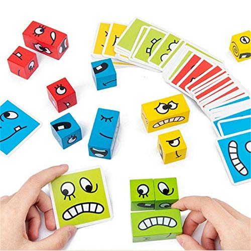 LYPXX Puzzle Building Cubes Emoji, Expression Puzzle Building Blocks, Geometrico Emoji Cube Card Game, Expression Puzzle Building Cubes for Logical Thinking Training (A)