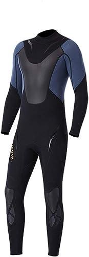 Combinaison d'été de plongée Combinaison néoprène de qualité supérieure pour Hommes en néoprène 3 mm à Manches Longues pour plongée Noire Plongée Natation Surf Voile (Couleur   Noir, Taille   XXL)