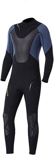 Peggy Gu Combinaison néoprène de qualité supérieure pour Hommes en néoprène 3 mm à Manches Longues pour plongée Noire Combinaison de plongée Sportive (Couleur   Noir, Taille   M)