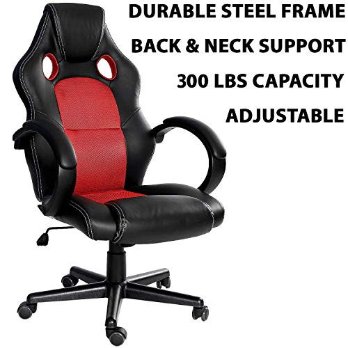 300LBS Racing Style Leather Gaming Chair   Heavy-Duty Ergonomic Swivel Computer, Office or Gaming Chair, Red (Back and Neck Support) chair gaming red
