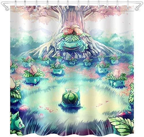 kglkb Duschvorhang,Bad Stoff Duschvorhang, Teppich + 12Hook-Pokemon Cartoon World 3490 180X180Cm