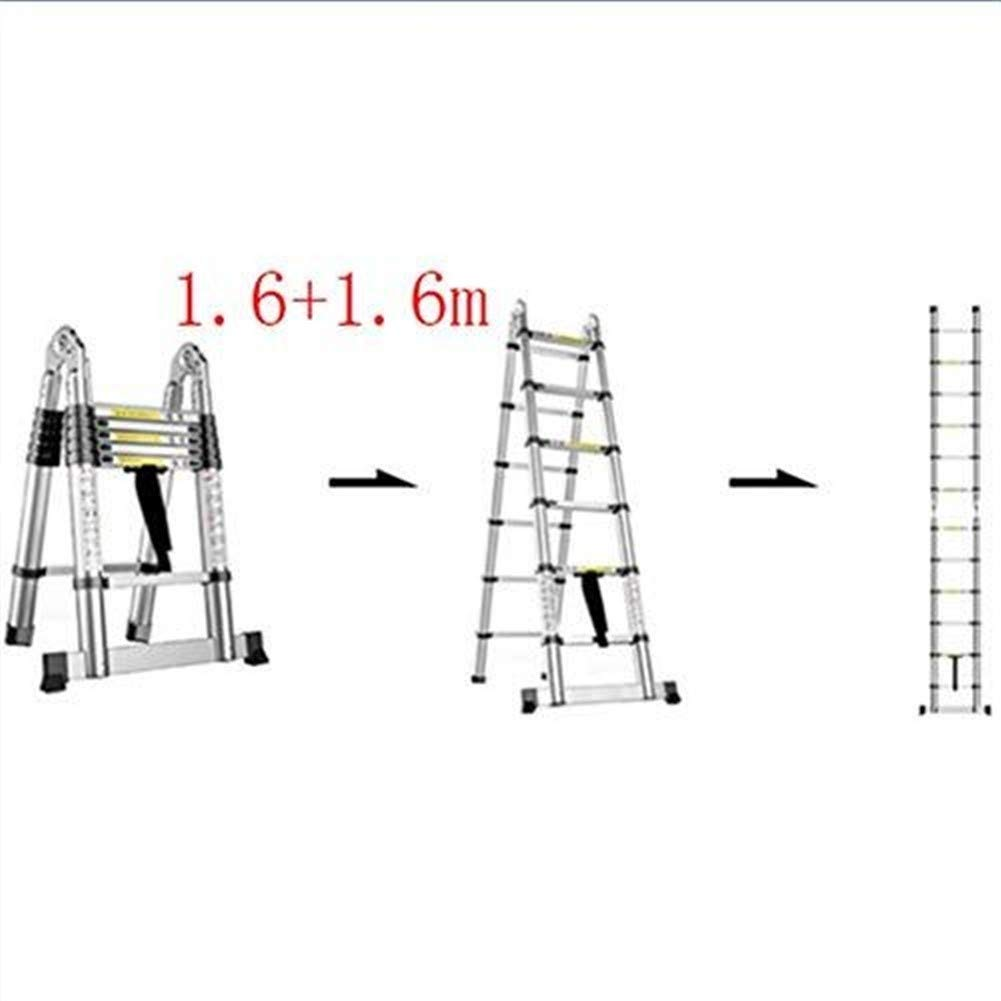 ZGQA de tijera Escalera, multi-función escalera plegable de aluminio, escalera telescópica portátil, bricolaje escalera extensible, Capacidad de carga 150 kg (Color : 1.6+1.6m): Amazon.es: Bricolaje y herramientas