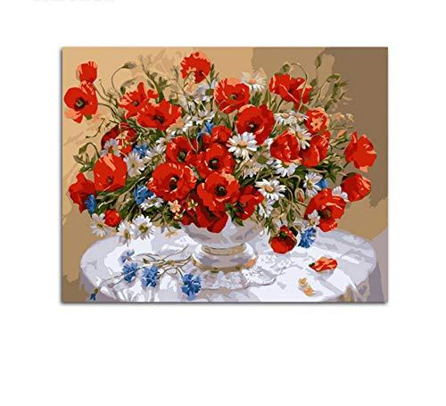 YUUWO Stilleven Bloemen Rode Bloem Tafelkleed Tafel Schilderen Door Getallen Kleurplaten Door Getallen 40x50cm Framless
