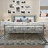 SimLife Steel Platform Box Spring Replacement (Full, Silver) Stable Bed Frame 10 Legs Two Headboards Mattress Foundation