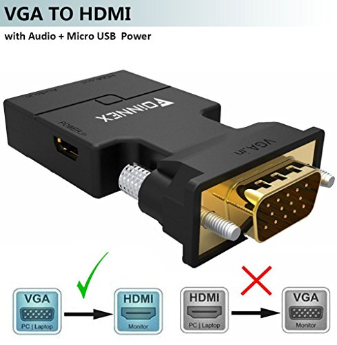 VGA to HDMI Adapter Converter with Audio 1080P, (PC VGA Output Source to TV/Monitor with HDMI Input Connector), FOINNEX Active Male VGA in Female HDMI Video Convertor for Laptop, Computer, Projector