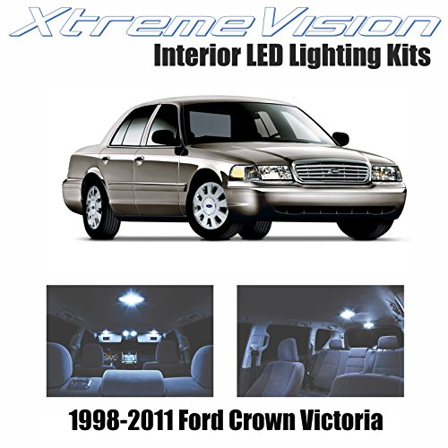 Xtremevision Interior LED for Ford Crown Victoria 1998-2011 (10 Pieces) Cool White Interior LED Kit + Installation Tool