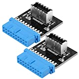 2-Pack USB 3.0 (3.1 Gen 2) Internal (19-Pin) Motherboard Header to A-Key 20 Pin Front Panel Adapter Type E Header for USB Type C Motherboard by JoyReken