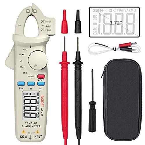 BSIDE - Multímetro digital True Rms con medidor de pinza de 1 mA y alcance automático para corriente alterna, diodo, temperatura, con probador de alerta de voltaje y clip trasero