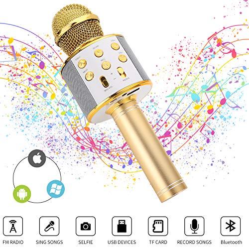 Ulikey Karaoke Mikrofon Kinder, Drahtloses Bluetooth-Karaoke-Mikrofon mit Lautsprecher für Sprach- und Gesangsaufnahmen, kompatibel mit Android/IOS/iPad/PC-Smartphone (Golden)