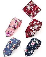 Elzama Cotton Floral Print Skinny Tie Slim Necktie for Special Event, Party, Wedding