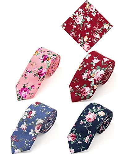 Elzama Corbatas florales para hombre | Corbata fina de algodón con estampado de flores | Skinny Necktie - Set de pañuelo de bolsillo para fiestas