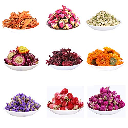 MISSYOUNG Dried Flowers for Soap Making Dried Flowers for Candle Making Dried Flowers for Bath Bombs Dried Botanicals Rosebuds, Jasmine, Hibiscus, Lily, Myosotis, Marigold (9 Bags)