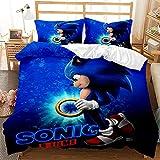 MIUNNG Funda Nórdica de Tema de Sonic 3D Juego ?de Cama con Cierre de Cremallera? para Niños Adolescentes Adultos Conjunto de Funda Nórdica (Sonic 8,150x200cm-Cama 90)