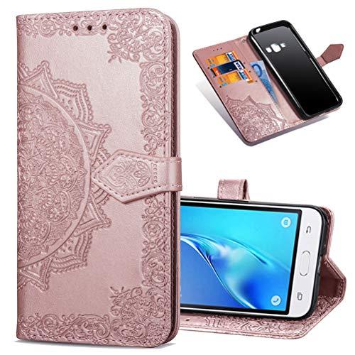 MRSTER Funda Compatible con Samsung Galaxy J1 2016, PU Cuero Flip Folio Carcasa, Cierre Magnético, Función de Soporte, Billetera PU Cuero Funda para Samsung Galaxy J1 2016. SD Mandala Rose