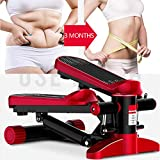 LJYLF Mini Fitness Hydraulic Stepper, Men and Women Stepper Cardio <span class='highlight'>Exercise</span> Trainer, Monitor and Resistance Bands Stepper <span class='highlight'>Exercise</span>s Equipment,Red