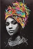 MFGGF Bilder Afrikanische Frau Wand-Kunst Leinwand Moderne Pop-Art Leinwand Gemälde an der Wand Poster und Druck Porträt Pictures Home Decor (Color : No Frame, Size (Inch) : 70x100cm no Frame)