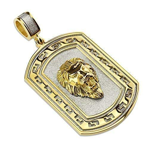 Tapsi´s Coolbodyart®| Ketten Anhänger Edelstahl Zirkonia Glas Gold Löwen Kopf