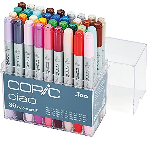 COPIC Ciao Marker Set E mit 36 Farben, alkoholbasierte Allround Layoutmarker, im praktischen Acryl-Display zur Aufbewahrung und einfachen Entnahme