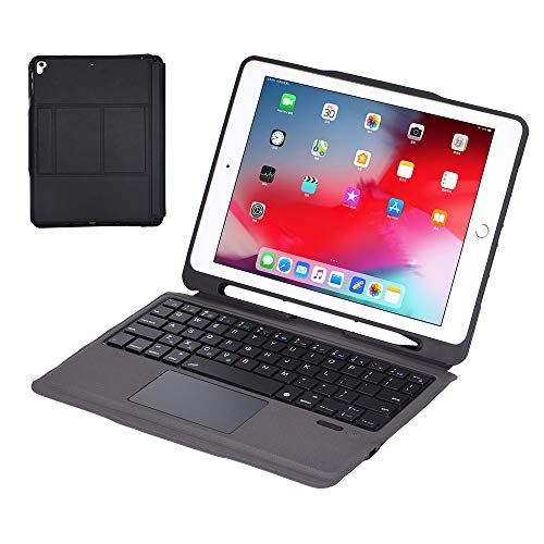 HaoHZ Touchpad Keyboard for Ipad 8Th/7Th Generation 10.2 2020, Keyboard Case for Ipad Air 10.5, Premium PU Leather Cover with Removable Wireless Bluetooth Keyboard,Black