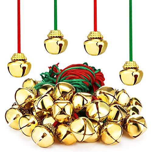 48 Pieces Christmas Bell Necklaces Large Jingle Gold Bell Necklaces for Craft Holiday Party Supplies (Red and Green Cords)