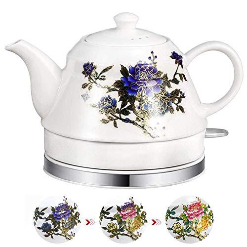 GYC Home Edelstahl Verfärbung Elektrokessel Keramik, 0,8 Liter kabellose Teekanne, automatische Abschaltung und Trocknungsschutz, ideal für heißes Wasser, Tee oder Kaffee - 1000W
