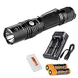 Fenix Rechargeable Bundle PD35TAC (PD35 Tactical) 1000 Lumens Tactical Flashlight, 2X Rechargeable Batteries, Smart Charger, LumenTac Battery Organizer