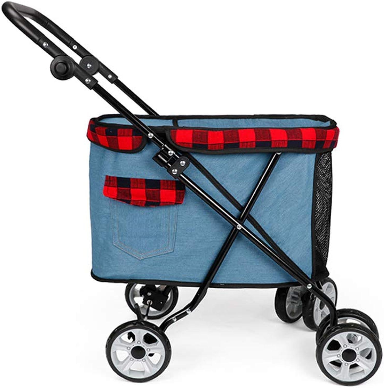 HWUKONG Dog Cat Pet stroller, Adjustable 4Bar Handlebar, Foldable,Pet Travel Folding Bracket, Stroller, Solid and Stable, Weighing No More than 12.5kg OUTDOOR SPORT,lightbluee