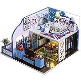 QiKun-Home Bricolage Cabine Bleu Maison de poupée Petite Fille côte Azur modèle assemblé modèle en Bois Jouet Cadeaux pour Enfants K-024 Couleur K-024