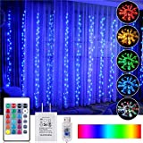 OPOLEMIN Window Curtain Lights Color Change Curtain String Lights of 300 RGB USB Powered, 16 Lighting Colors 4 Light Shows 9.84x9.84ft Rainbow Starry Lights for Bedroom Valentine's Day (Multi-Color)