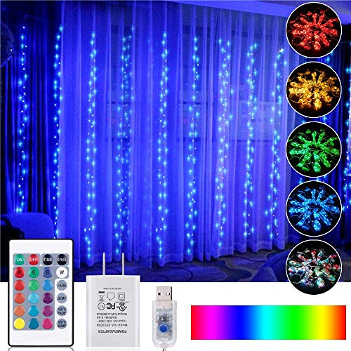 OPOLEMIN Window Curtain Lights Color Change Curtain String Lights of 300 RGB USB Powered, 16 Lighting Colors 4 Light Shows 9.84x9.84ft Rainbow Starry Lights for Bedroom Weddings Party (Multi-Color)