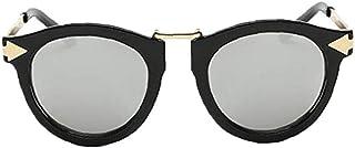 fedsjuihyg - Unisex Gafas de Sol polarizadas Retro clásico de Moda con Estilo Gafas de Sol UV Protección de Cristal Hombres Mujeres Negro y Plata 1PC