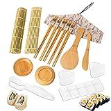 Kit para Hacer Sushi, 16 Piezas Kit de Sushi para Principiantes Incluye 2 Tapetes para Enrollar Sushi, 5 Pares de Palillos, 1 Paleta de Arroz, 1 Esparcidor de Arroz y Molde para Hacer Sushi