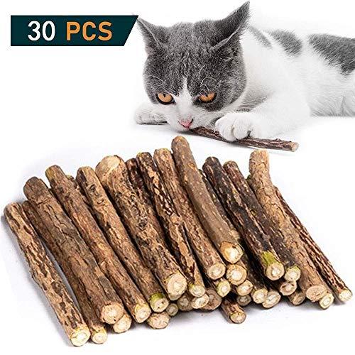 30 Stück Katzenminze Sticks, Matatabi Katzen Kauhölzer, Matatabi-Kausticks als Katzenspielzeug, Katzenminze Sticks zum Schleifen von Zähnen, natürlich,Matatabi Zahnpflege