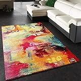 Paco Home Tappeto dal Design Moderno E Motivo Tela mélange - Verde, Blu, Rosso, Giallo, Dimensione:80x150 cm