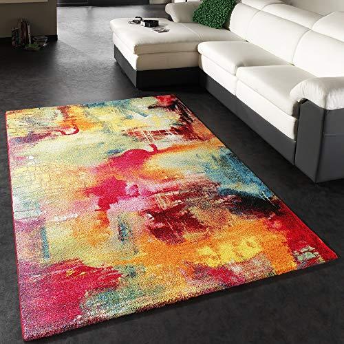 Paco Home Teppich Modern Design Teppich Leinwand Optik Multicolour Grün Blau Rot Gelb, Grösse:80x150 cm
