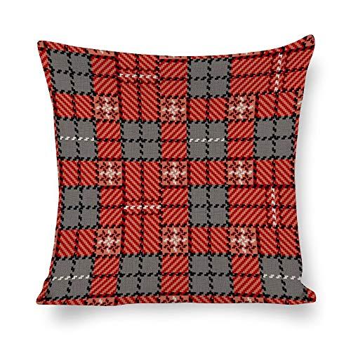 Juego de fundas de almohada sin marca de 18 x 18 cm, diseño de tartán, color rojo para granja, oficina, dormitorio, sala de estar, sala de juegos, sala de estudio, comedor, cocina