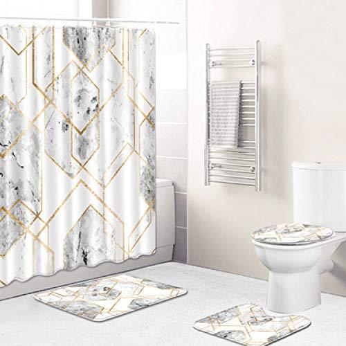 Retro Geometric Polyester Wasserdichter Duschvorhang Duschraum rutschfeste Bodenmatte Toilette Waschbare Toilettenmatte 4-Teiliges Set