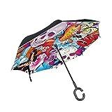 Paraguas reversible con diseño de calavera, flores, mariposa, reversible, para mujer, para viaje, resistente al viento, impermeable, doble capa