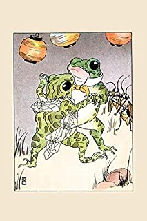 Miss Frog dances with Billy Bullfrog as the crickets play violins An illustration from a series of childrens books which c...