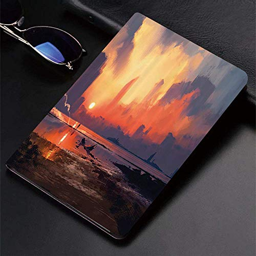 Case for iPad (9.7-Inch, 2018/2017 Model, 6th/5th Generation)Ultra Slim Lightweight Smart Cover,Fantasy World Set,Man on Sandy Beach with City Skyscrapers Skyline Sunset O,Smart Covers Auto Wake/Sleep