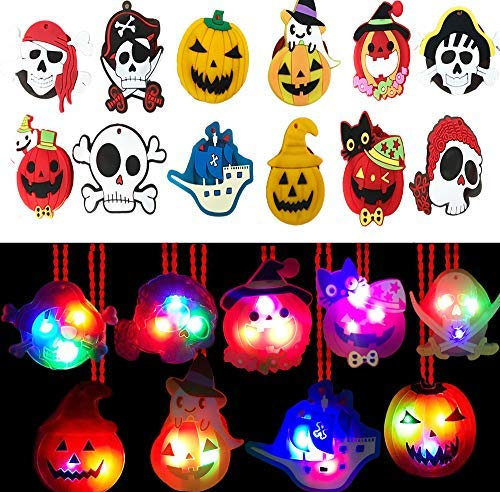 AISENO Halloween LED Light up Necklace 15PC Party Favors Set for Kids Goodie Bag Filler Gift Package