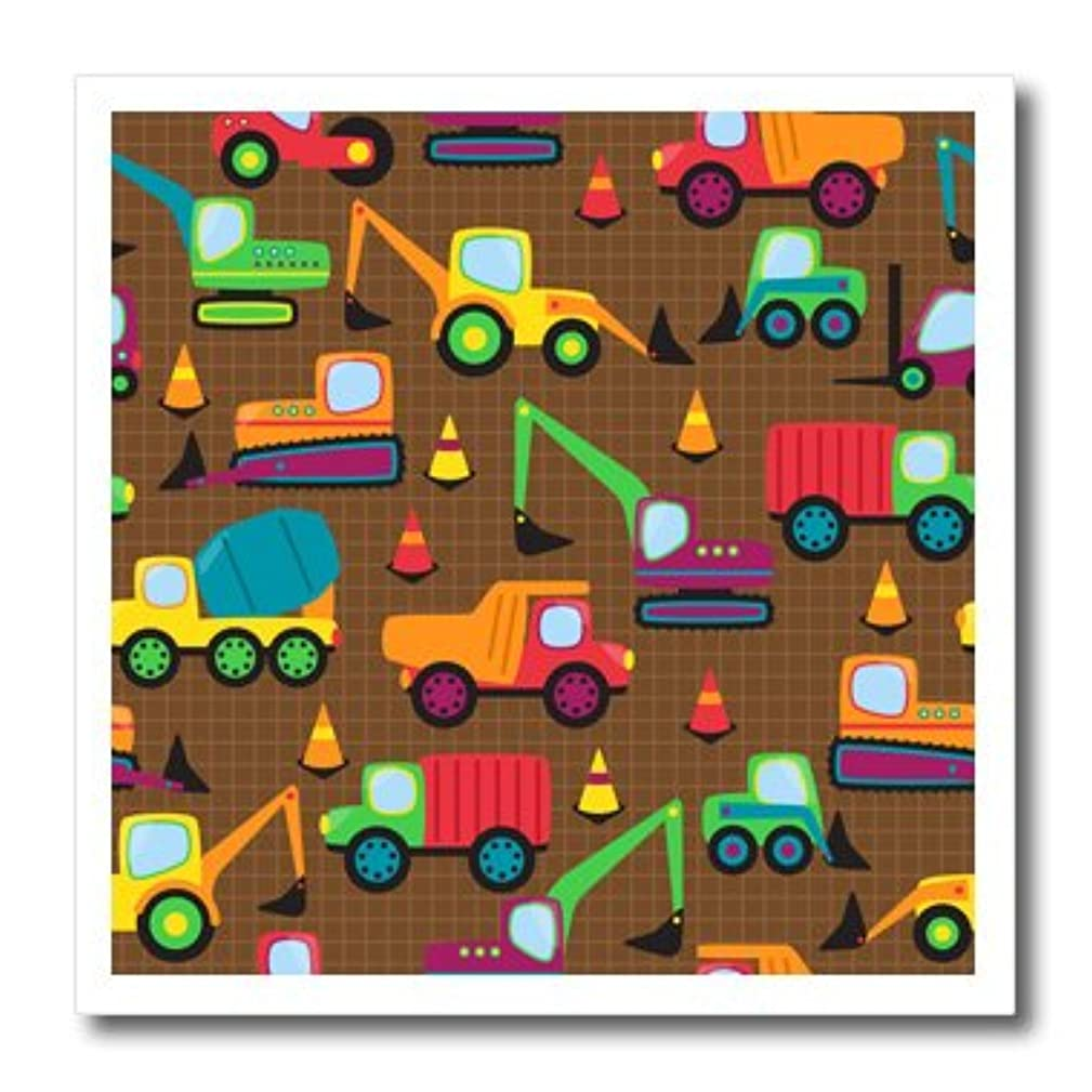 3dRose Cute and Colorful Construction Vehicles Pattern-Iron on Heat Transfer, 10 by 10