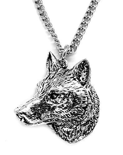 Colgante de cabeza de lobo (con un collar de cadena de acero de 53 x 3 mm de grosor) en una bolsa de arpillera de limón