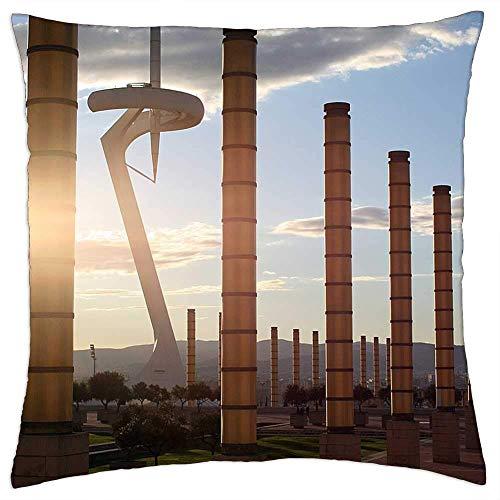 Funda de almohada, diseño de Arquitectura de Barcelona, España, Cataluña, fundas de cojín personalizadas para decoración del hogar, sala de estar, 45 x 45 cm
