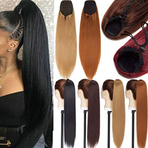 Women Long Kinky Srtaight Bun Ponytail Hair Extensions Drawstring Yaki Ponytail Extension Dark Brown